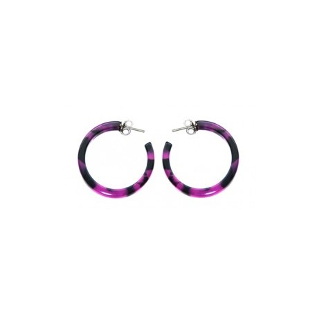 PENDIENTE ACETATO ARO 29mm CAREY FUCSIA