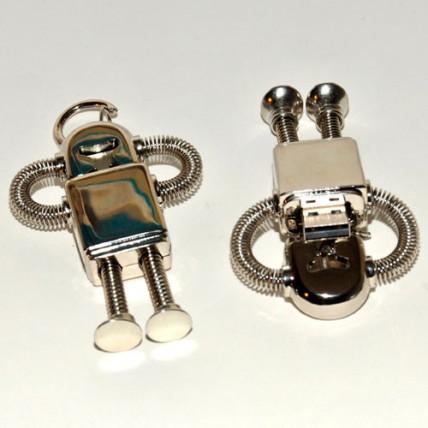 Memoria USB Robot Metálico Plateado